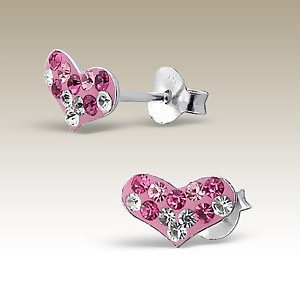 SOLD - Heart Earrings stud - Sterling Silver & Crystals pink mix / clear on Enamel pink.