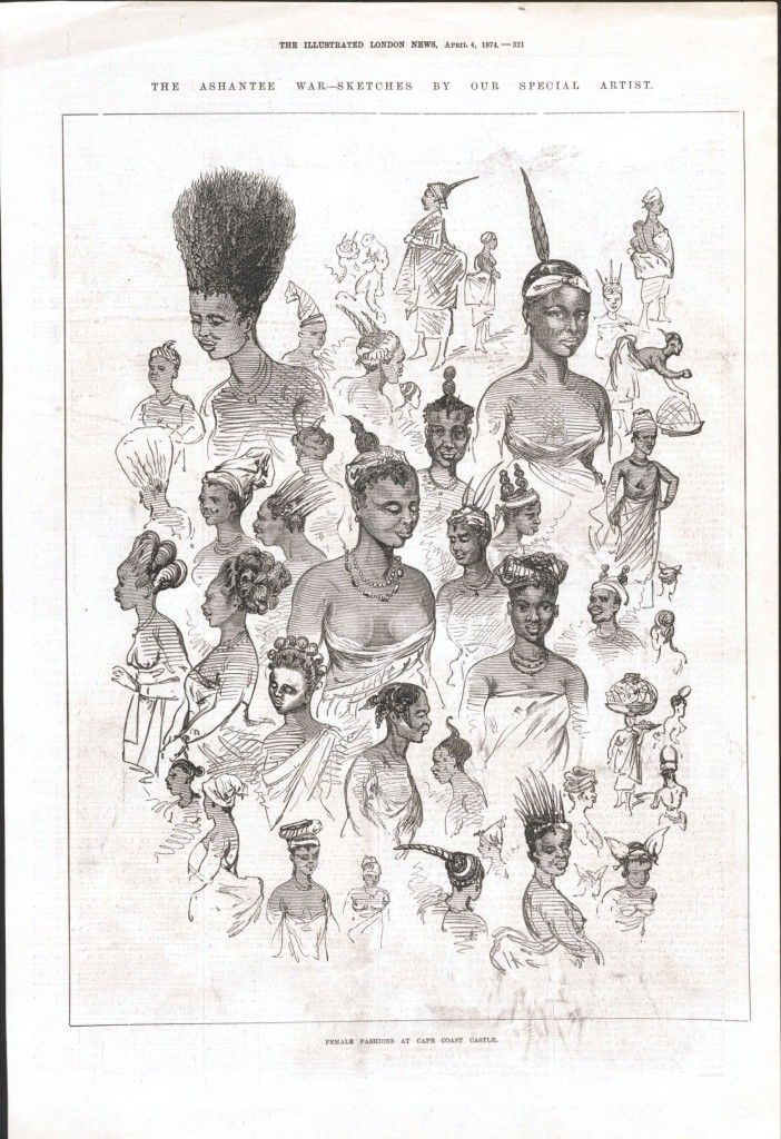 """""""The Ashantee War: Female Fashions at Cape Coast Castle,"""" in The Illustrated London News, April 4, 1874. First established by the Swedish as a trading fort for the exchange of materials and goods in 1653, Cape Coast Castle soon became a dungeon for holding enslaved Africans for sale and transport across the Atlantic."""