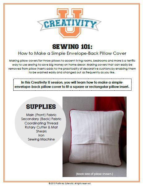 Envelope Back Pillow Cover Tutorial