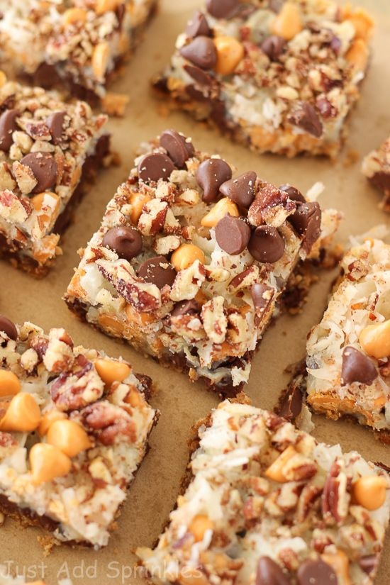 SEVEN LAYER BARS These bars have everything you want in flavor & texture. Lots of chocolate chips, butterscotch chips, sweetened coconut flakes and pecans go into these bars
