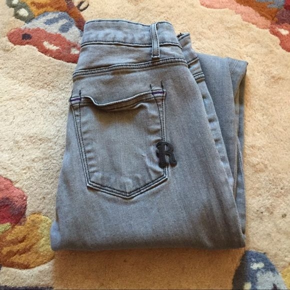 Price drop! Rich & Skinny Grey Skinny Jeans sz 24 Super comfy and awesome Rich & Skinny grey skinny jeans. Fabric is 98% cotton 2% spandex. Bought these awhile back and haven't worn them in forever. There is some slight pulling in the fabric by the zipper but not noticeable on. Price reflects this defect. No trades. Rich & Skinny Jeans Skinny
