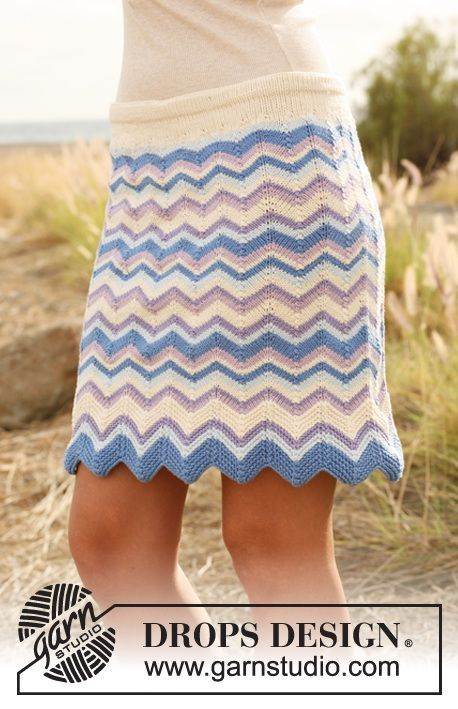 "Knitted DROPS skirt with zigzag pattern and stripes in ""Muskat"". Size S-XXXL. ~ DROPS Design"
