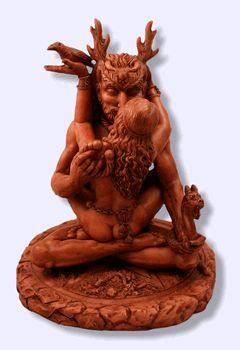 Great Pagan Rite ~ Forest God + Moon Goddess Statue - pagan wiccan witchcraft magick ritual supplies