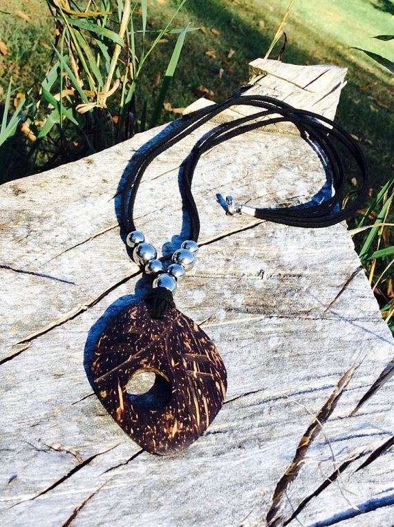 Coconut Shell pendant necklace  Stainless Steel Necklace