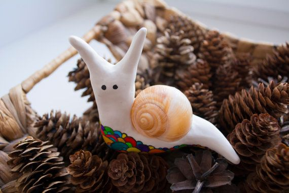Sculpture miniature fantasy Funny Snail by by WingedHedgehogDream
