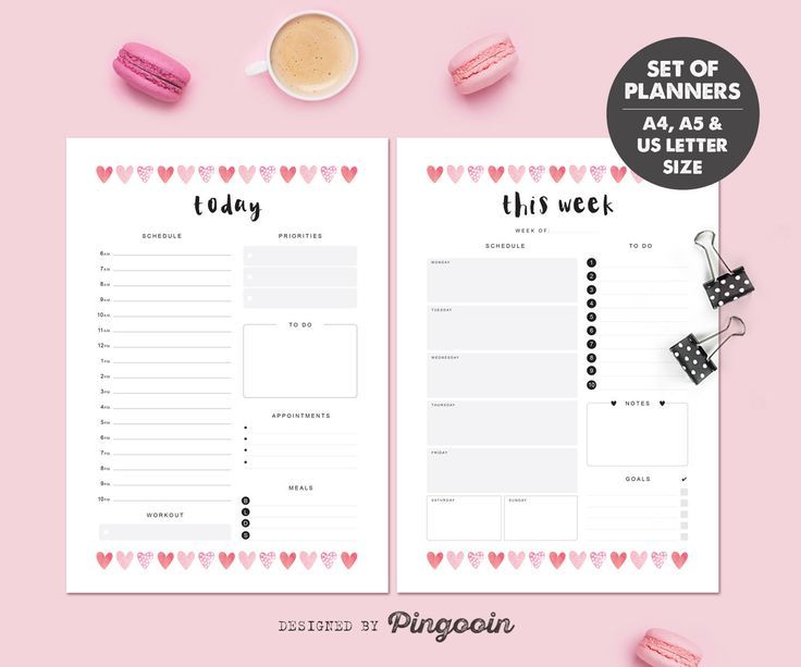 Daily & weekly printable planners. Daily / weekly schedules. Planner inserts. Size A4, A5, US Letter. Digital file - instant download. SP03 by Pingooin on Etsy