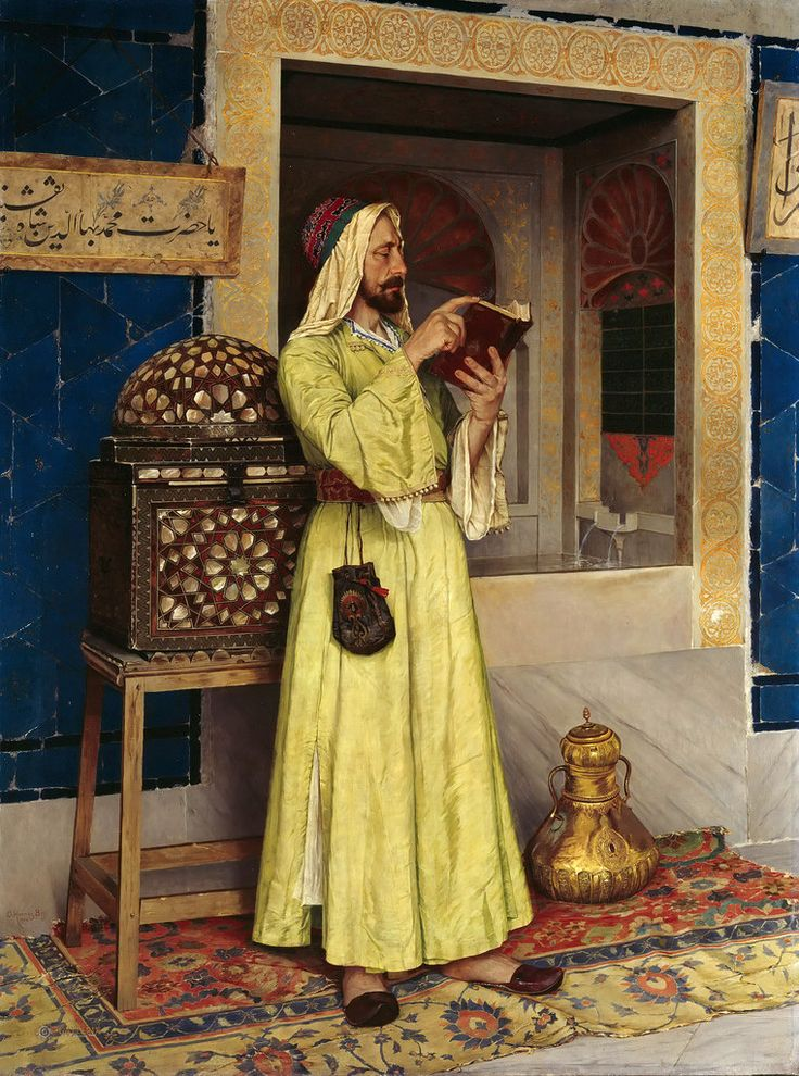 Osman Hamdi Bey (Constantinople, 1842 - Constantinople, February 24, 1910) was an Ottoman administrator, intellectual, art expert and also a prominent and pioneering painter. Throughout his professional career as museum and academy director, Osman Hamdi continued to paint in the style of his teachers, Gérôme and Boulanger.   [Alte und Neue Nationalgalerie, Berlin - Oil on canvas]