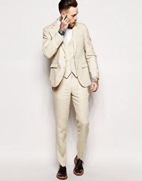 Cream Linen Double Breasted Suit | Mens Linen Suits | Beige, Cream & White Suits | ASOS