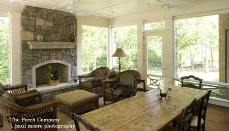 screened porch and fireplace