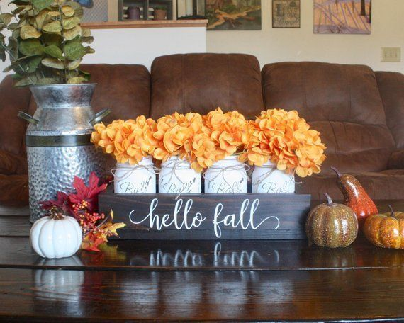 Fall Table Decor. Fall Mason Jars. Fall Centerpiece. Thanksgiving Table Decor. Fall Centerpiece. Rustic Mason Jar Decor. Fall Home Decor