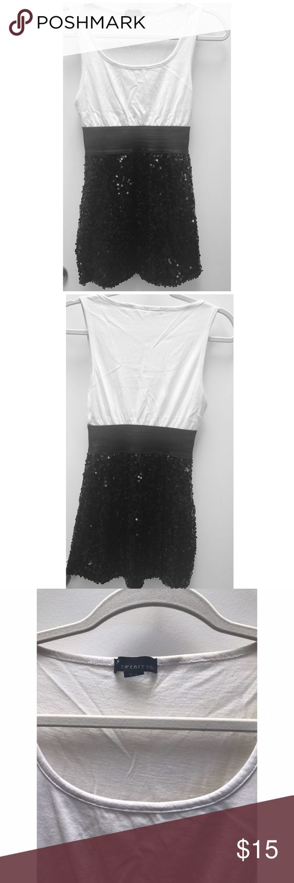 Black and White Sequin Dress Black and White Sequin Dress. Stretchy waistband. Mini dress. Forever 21 Dresses Mini