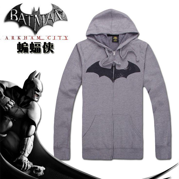 geek Hero alliance batman hooded zipper cardigan boutique animation comfortable grey fleece men's clothing