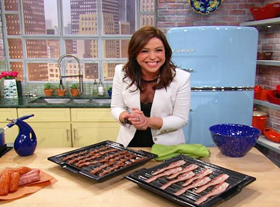 Rachael Ray's suggestions on making bacon in the oven...375 for 15-18 min. on a broiler pan.  No flipping and no dealing with splatter...I think I'm going to try this!