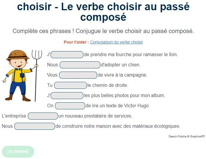 Le verbe choisir au passé composé. Exercice de français Cm1 | Passé composé, Exercice de ...