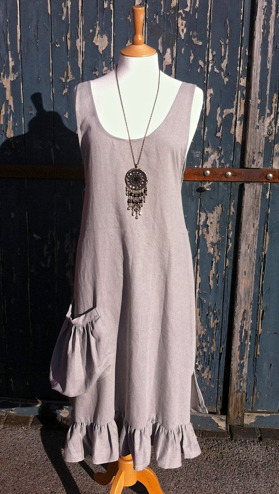 Long Grey Natural Beige Linen Apron Pinafore Dress with Low Slung Slouch Pocket. Freesize Jumper