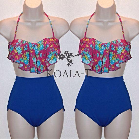 Floral Print Flounce Top & Blue High Waist Bikini by KoalaTFashion