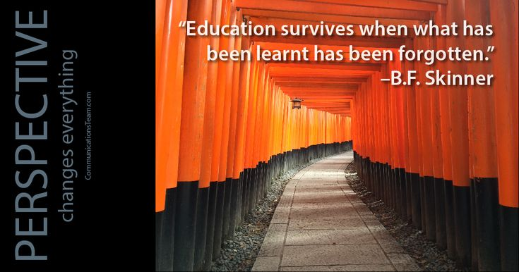"""Education survives when what has been learnt has been forgotten."" -B.F. Skinner #perspective #truth #fact #life #pointofview #pov #inspiration #motivation http://www.communicationsteam.com/inspiration-slides/"