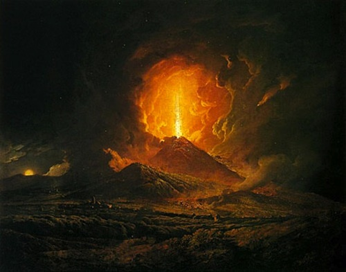 An Eruption of Vesuvius, Seen from Portici (c.1774–6) by Joseph Wright of Derby