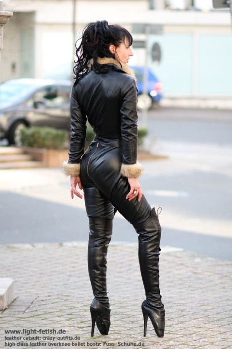 high class leather overknee balletboots leder catsuit in ...