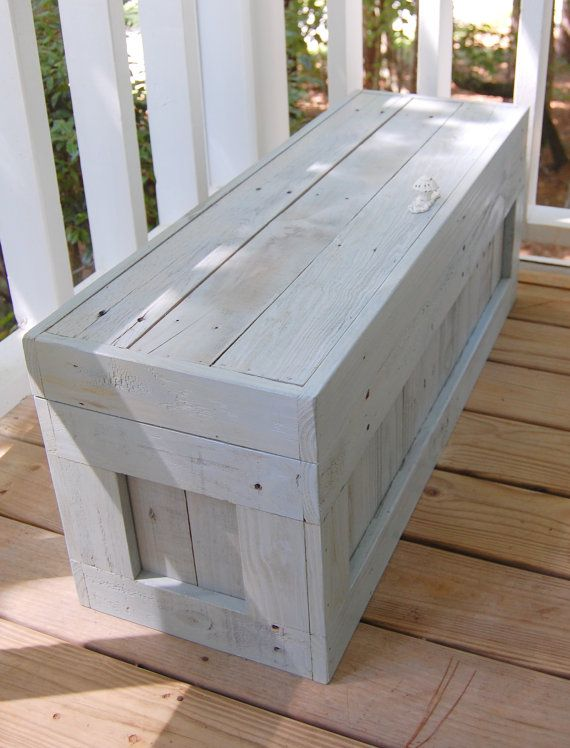 Wood Pallets...Use it as a coffee table, end of the bed bench, toy box or seasonal clothing storage...Possibilities are unlimited! Handle or pull knob either mounted on top or front...interior opener hinges.
