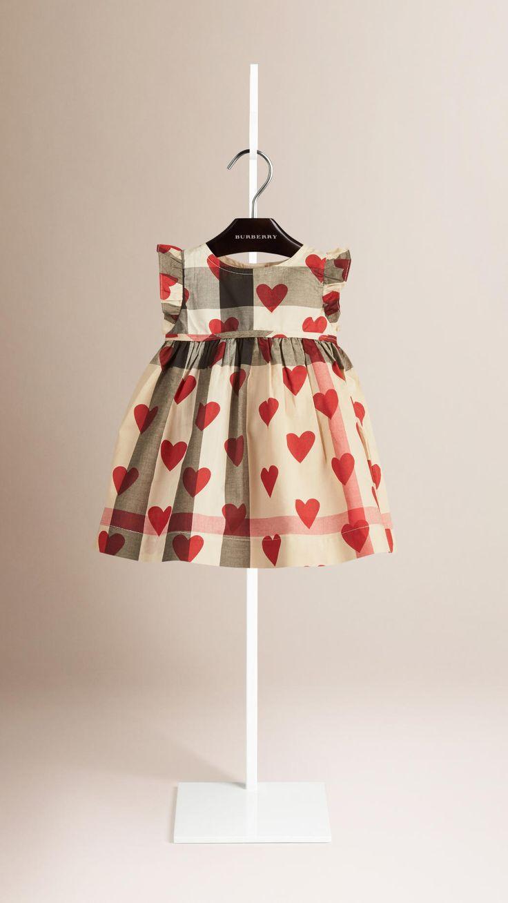 Vestido de algodão com estampa xadrez e corações   Burberry