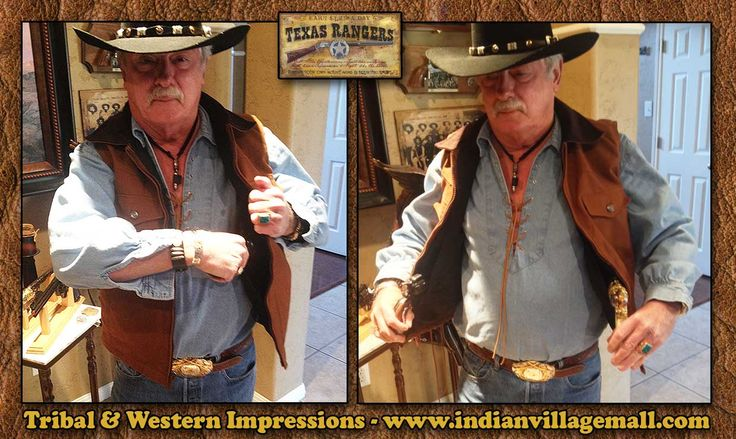 Close-Up Details In Action - Canvas Concealed Carry Cowboy Vest From Tribal And Western Impressions - www.indianvillagemall.com