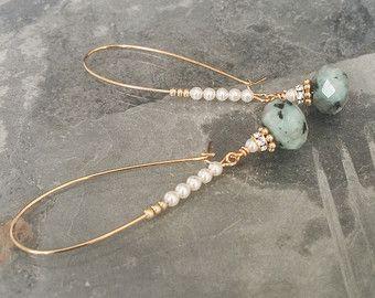 Kiwi Jasper Pearl e cristallo Orecchini a cerchio in oro, orecchini di perle, perle Hoops, Hoops Jasper, Jasper orecchini, orecchini a cerchio in oro