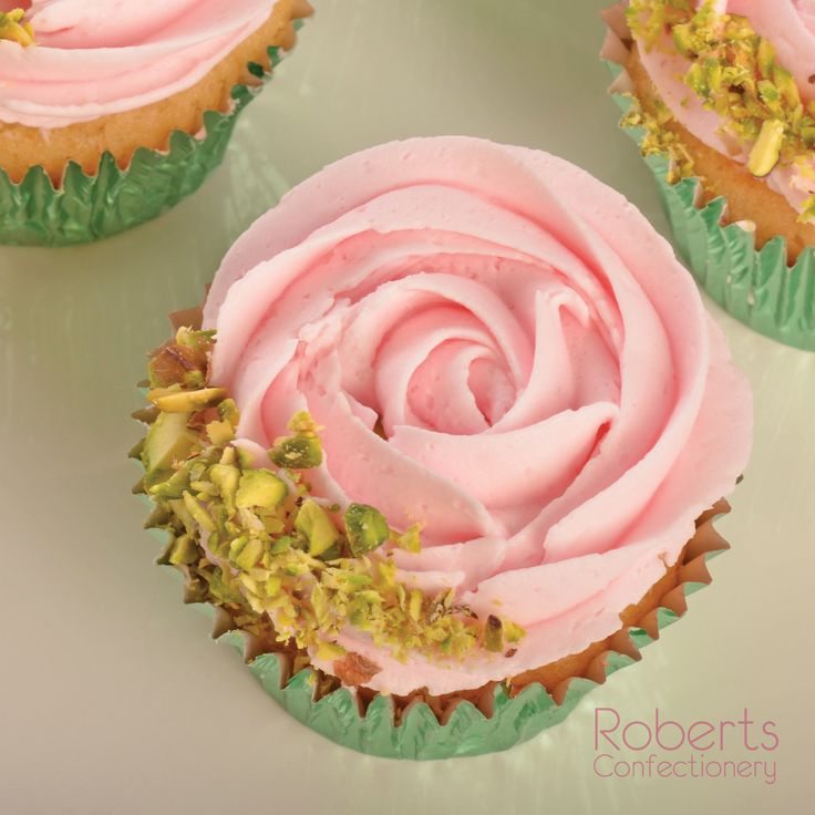 Rose flavoured cupcakes. Made with Roberts Confectionery Vanilla Mud Cake Mix.