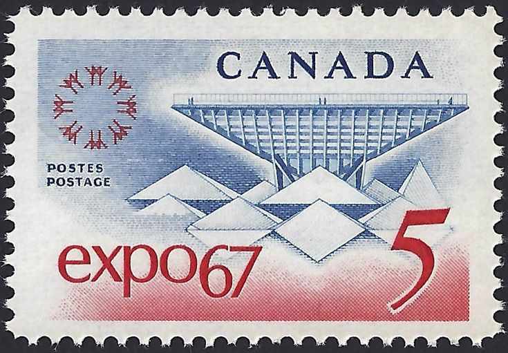 "Expo '67 Emblem and Canadian Pavilion.  The Canadian Pavilion covered 11 acres at Expo 67 in Montreal and featured an inverted pyramid structure called ""katimavik"" (the Inuit word for ""gathering Place"") as well as a walk through attraction called the ""People Tree."""