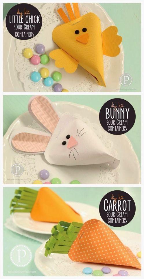 Trop mignons ces petits ballotins pour mettre des œufs ou fritures de Pâques.