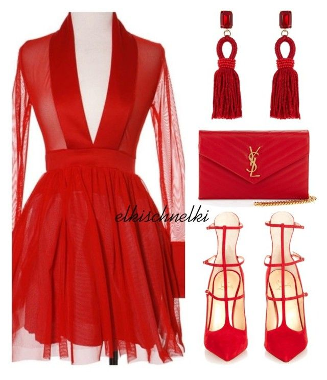 """Unbenannt #1040"" by elkischnelki ❤ liked on Polyvore featuring Christian Louboutin, Yves Saint Laurent and Oscar de la Renta"