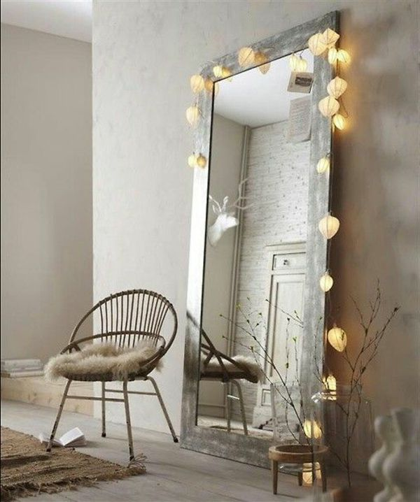 Rustic style wooden frame for the mirror