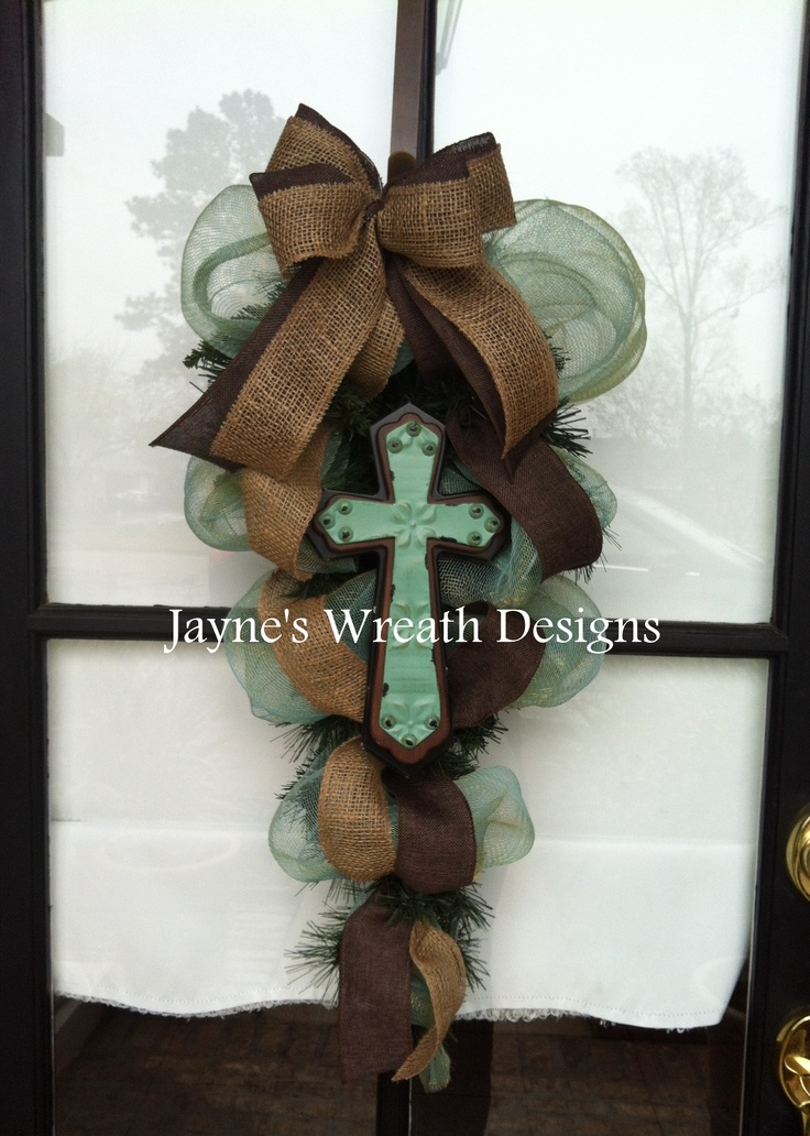 Door Swag in turquoise and brown, with cross and burlap ribbon