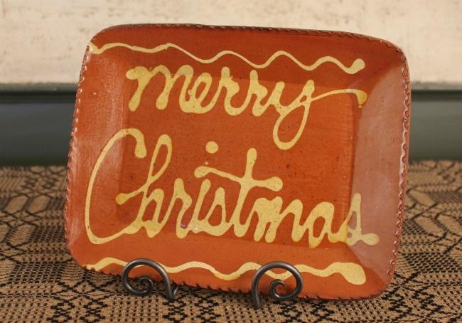 Redware Merry Christmas plate.: Stoneware