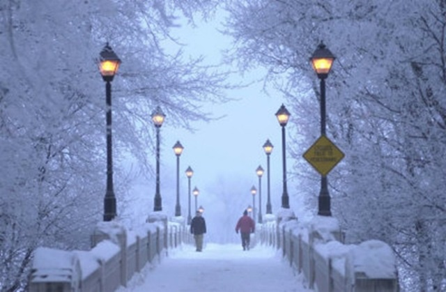 The Footbridge to Assiniboine Park in winter - Winnipeg, Manitoba