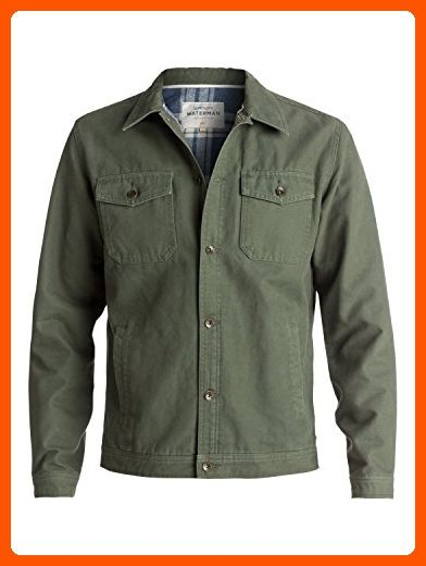 Quiksilver Waterman Men's Tradie Canvas Button Down Jacket, Beetle, L - Mens world (*Amazon Partner-Link)