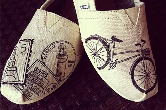 Custom Painted TOMS Shoes - Travel Bicycle with Passport Stamps in Black - Adult