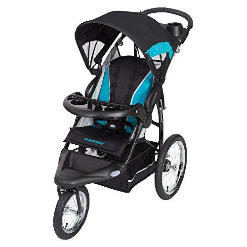 """Baby Trend Expedition RG Jogger Stroller, Topaz  Quick-release 16"""" all-terrain rear bicycle wheels  Front Swivel Wheel for easy maneuvering, locks for jogging  Reclining Padded Seat with 5 point harness, tether, large canopy and storage basket  Easy Compact trigger fold for storage or travel  Accepts Top Rated Baby Trend Infant Car Seat to create a Travel System"""
