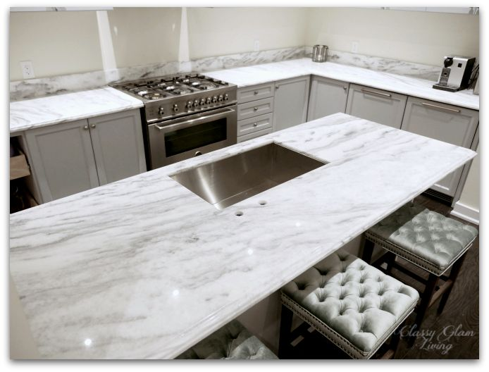 NEW SUPERWHITE quartzite kitchen counter | New house kitchen | Classy Glam Living. We both liked this countertop