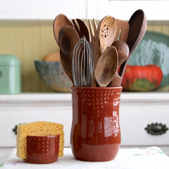 Kitchen utensil crock handmade utensil holder medium for Modern kitchen utensil
