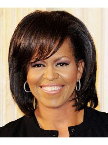Michelle Obama Layered Haircut Wig With Bangs