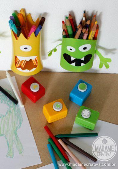 Porta-lápis de monstrinho feito com pote de shampoo - como fazer porta lápis divertido para crianças / Shampoo Bottles into Monster Pencil H...