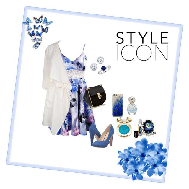 """""""blue flower 🌸"""" by nurardisa on Polyvore featuring Patrizia Pepe, Nine West, Chloé, Casetify, Kobelli, Blue Nile, Marc Jacobs and WALL"""