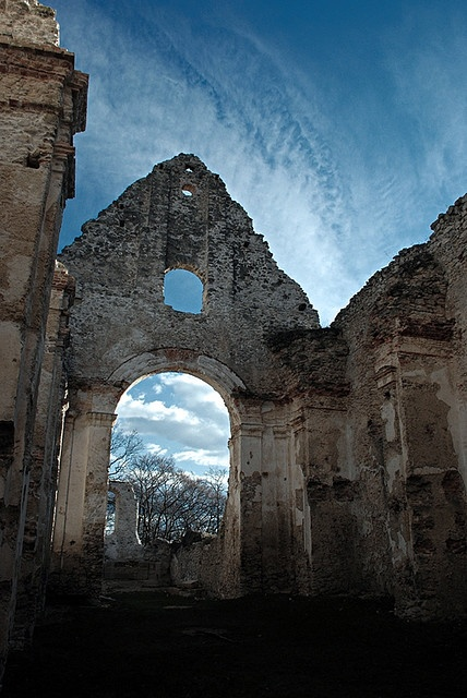 ruin of st. Catherine church in carpathian forest, Slovakia, Europe