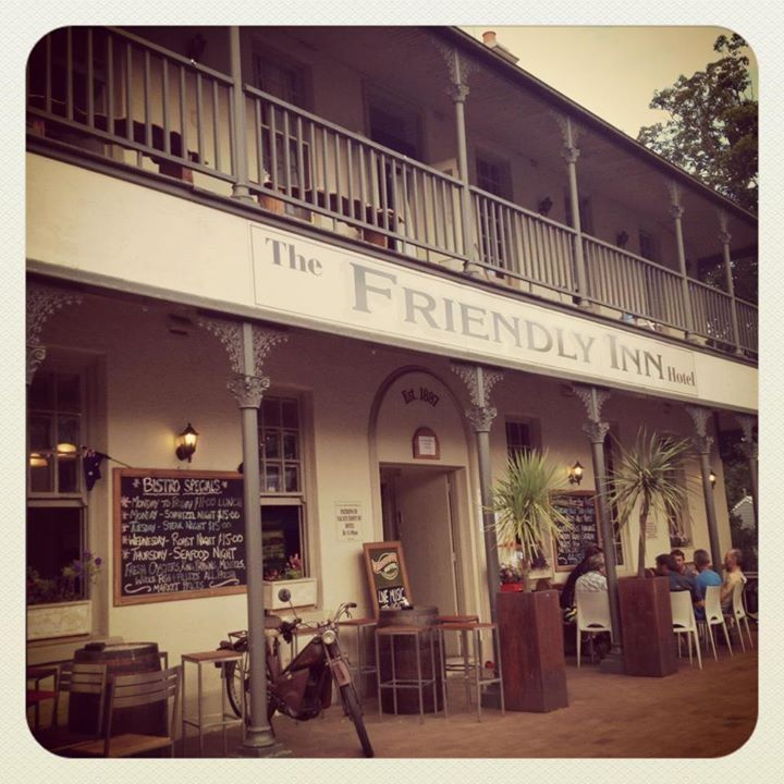 THE FRIENDLY INN PUB Great for a pub lunch, wonderful beer garden with amazing views and play equipment for the kids. Warm and welcoming staff and daily specials. Bottle shop sales available.