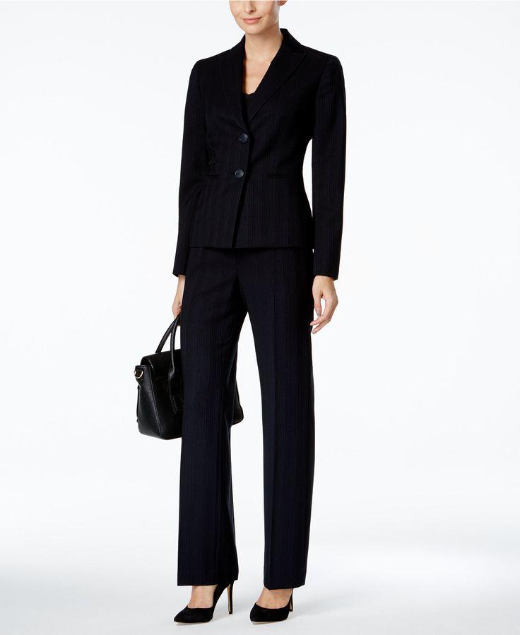 Le Suit Pinstriped Pantsuit - Suits & Suit Separates - Women - Macy's
