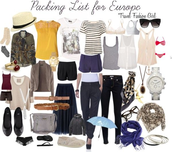 Packing List for Europe... can you tell I'm thinking about leaving for Spain?