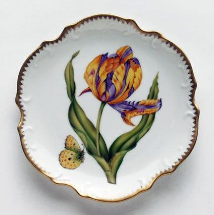 Old Master Tulips Purple & Yellow Tulip Bread & Butter Plate | Gracious Style