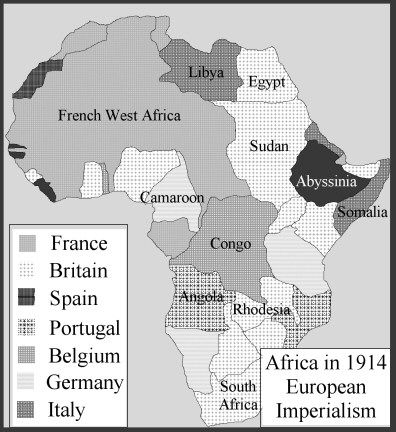 """This map displays the colonization of Africa between the major European countries.  Merriam-Webster defines imperialism as """"the policy, practice, or advocacy of extending the power and dominion of a nation especially by direct territorial acquisitions or by gaining indirect control over the political or economic life of other areas""""."""