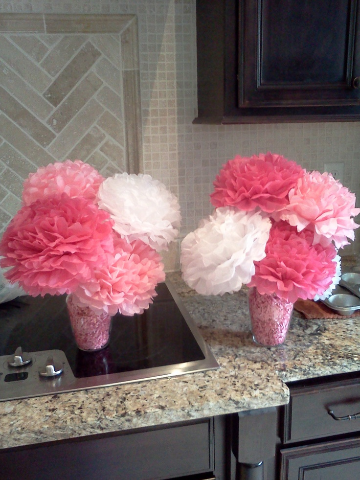 Four (4) Tall and Three (3) Small Wedding, Birthday or Party Flower Pom Centerpieces
